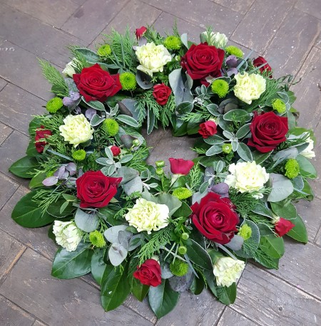 Red Roses and Green Carnation Wreath