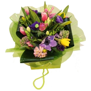 Hyacinth and Tulip Hand-Tied